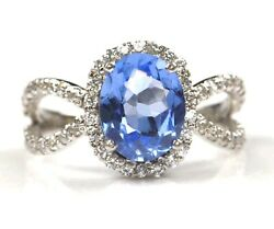 18kt White Gold - Natural African Blue Topaz 1.95ct And Igi Certified Diamond Ring
