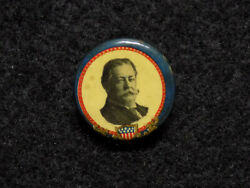 1908 Howard Taft Presidential Campaign Celluloid Pinback Button Whitehead And Hoag