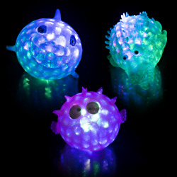 Lumistick Stress Relief Toy, 3 Inch Light-up Squeezy Bead Aquatic Animals Lot