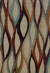 Ivory Transitional Synthetics Ikat Abstract Diamonds Area Rug Striped 4178b