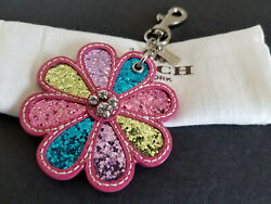 Coach Daisy Flower Pink Leather Glitter Paved Crystal Charm Key Fob Keychain NEW
