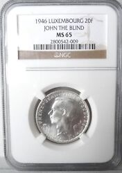 Luxembourg 1946, 20 Francs, Ngc Ms65, John The Blind
