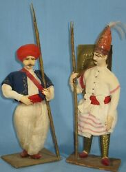 Vintage Pair Ethnic Palace Guard And Warrior Dolls Papier-mache Brass Cloth 11h