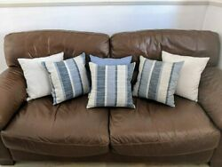 Gorgeous Set Of 6 Handmade Cushions/pillows In Cool Blues And Stone