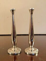 Beautify Pair Vtg Art Deco Wmf Germany Silver Plate Sleek 6andrdquo Bud Vase Classic
