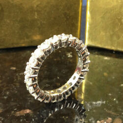 2.00 Ct Real Diamond Eternity Wedding Bands 14k Fine White Gold Rings Size 5 6 7