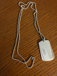 Tiffany &Co. Sterling Silver Yorkie collection Comb Dog Tag Pendant Necklace