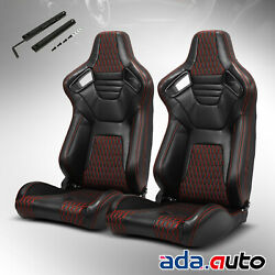 Jdm Reclinable Pvc Main Black Red Sitching Left/right Sport Racing Seats Slider