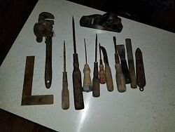 Lqqk Lot Of Vintage Hand Tools Wrench Screw Driver Plane Ahw Square Wood Handle
