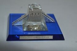Vintage Crystal Glass Paperweight Building Blue Great Wall Of China
