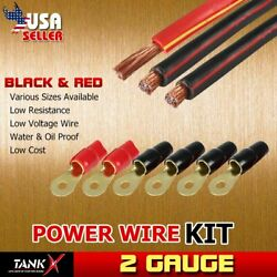 Heavy Duty 3pcs 15ft Ea Black Red Wire Power / Ground Cable with Terminals Set
