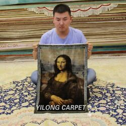 YILONG 1.5'x2' The Mona Lisa Handmade Silk Tapestry Pictorial Carpet 315H