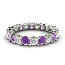 2.03 Ct Natural Amethyst Eternity Band Platinum Real Diamond Ring Size 5.5 6 7