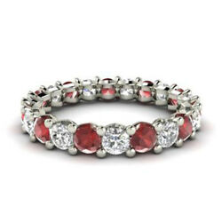 2.03 Ct Natural Diamond Ruby Eternity Band Platinum Womenand039s Ring Size 5 6.5 7