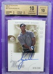 Rare (BGS 1010) 2001 Tiger Woods SP Authentic GOLD Autograph Rookie SN 079100