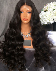 Stock Lace Front Indian Natural Black Body Wave Human Hair Wig 28 180 Den.
