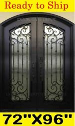 ARCH TOP WROUGHT IRON FRONT ENTRY DOORS TEMPERED GLASS 72''X96'' DGD1019A