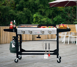 Bbq Griddle Combo Flat Top + Grill Portable Outdoor 4 Burners Wheels Folding