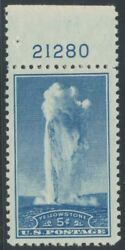 744 5andcent Yellowstone Plate Single Superb Og Nh Bl157
