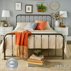 Metal Bed Frame Queen Farmhouse Iron Vintage Rustic Modern Country Style Bronze