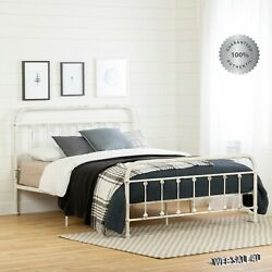 Metal Bed Frame Queen Farmhouse Iron Vintage Rustic Modern Country Style Shabby