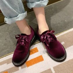 Elegant Womens Round Toe Loafers Retro Velvet Leather Lace Up Pumps Shoes Oxford