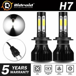 Pair 4-sides H7 Cree Led Headlight Kit 2400w 6000k 360000lm Replacement Bulbs