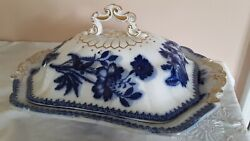 Flow Blue And Gold Game Dish Rare Form-copeland