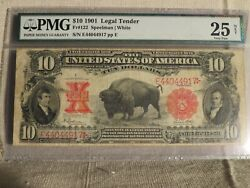 1901 Series 10 Legal Tender Buffalo Note-pmg Vf25-nice Example