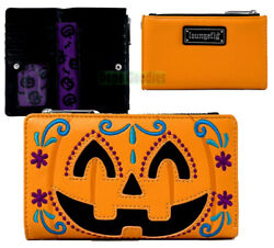Loungefly Purple Emo Gothic Skull & Roses Zip Up Clutch Wallet for Phone & Cards
