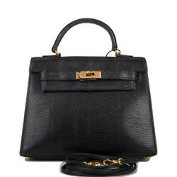 Hermes Vintage Black Varanus Salvator Lizard Micro Kelly 15cm Gold Hardware