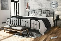 Metal Bed Frame King Farmhouse Iron Sturdy Vintage Modern Gray Country Style Us