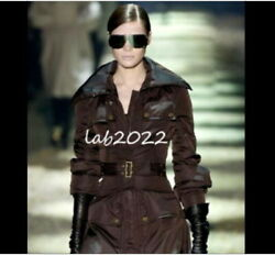 Gucci Tom Ford 2003 Corseted Duvet Coat Luscious Chocolate Brown 38 Chic!