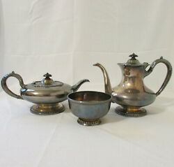 Antique Eg Webster And Brother Silverplate Teapot And Coffee Pot W/ Oxford Bowl