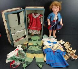 1930's Shirley Temple 18 Doll By Ideal Cop With Case And Outfits
