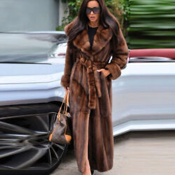 120cm Women 100 Real Mink Fur Coat Hooded Trench Warm Overcoat Long Jacket Gift