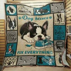 Boston Terrier Dog Kisses Fix Everything Fleece Blanket 50x60x80 Made In US