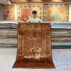 Yilong 4.5'x6.5' Golden Angel Tapestry Handmade Carpets Silk Area Rug TJ078H