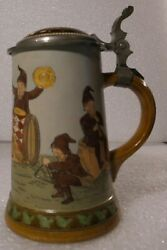 German Lidded Beer Stein Tankard Hauber And Reuther Dwarfs Playing Instruments