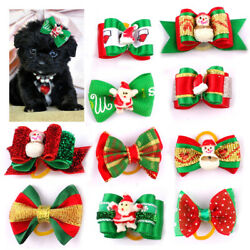 20200pcs Wholesale Christmas Dog Hair Bows Rubber Band Pet Cat Grooming Topknot