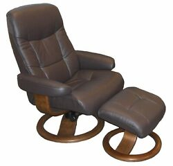 Fjords Muldal Small Recliner Comfort Chair - Havana Leather - Walnut Wood Stain