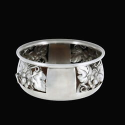 Evald Nielsen 1879-1958. Sterling Silver Wine Coaster With Grapes Motif.