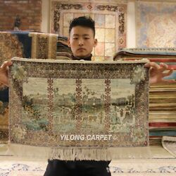 Yilong 1.3'x2' 1000L Top Rug Tapestry Hand-knotted Silk Carpets Area Rug YL79A