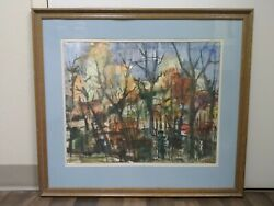 Landscape Art Vintage Watercolor Abstract Expressionismandnbsp On Paper Mid- Century
