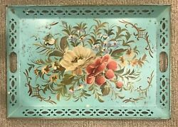 Vintage Turquoise Blue Metal Serving Tray W/hand Painted Floral Design Handles