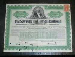 Graphic Old Ny And Harlem Railroad Bond Certificate With R175 Revenue Stamp