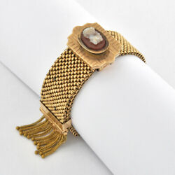 Late Victorian Pinchbeck Mesh Bracelet Accents Stone Cameo Slide Clasp 8 Long