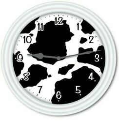 Cow Spots Wall Clock - Animal Print Farm Dairy Country Decor Ranch - Great Gift