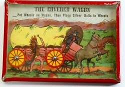 Dexterity Game - Covered Wagon Cowboy And Indian Toy - 1920's Rare Exc Cond Puzzle
