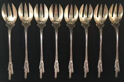 Set Of 8 Durgin Cat Tails Sterling Silver Ice Cream Forks